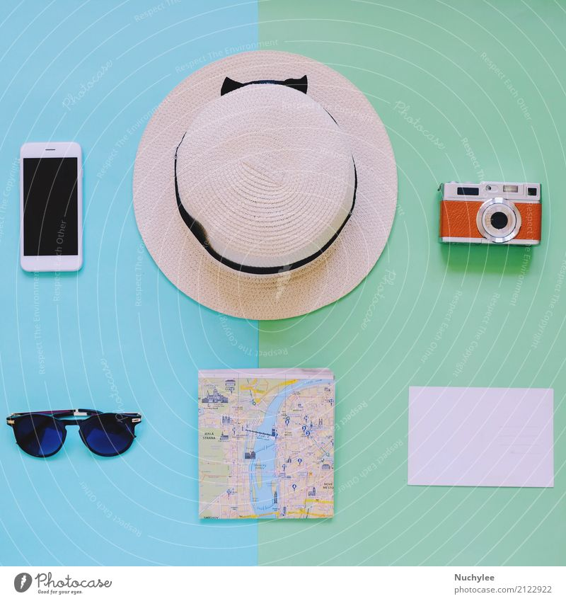 Creative Flat lay of travel items Lifestyle Style Design Joy Vacation & Travel Trip Adventure Summer Decoration PDA Camera Art Fashion Sunglasses Hat Happiness