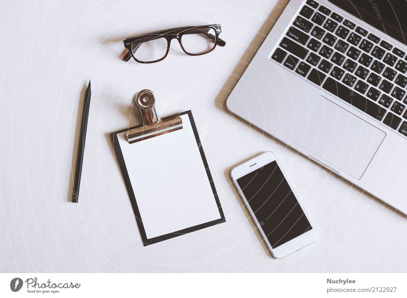 Flat lay photo of office desk White Lifestyle Business Design Work and employment Office Modern Open Technology Vantage point Table Computer Paper Eyeglasses