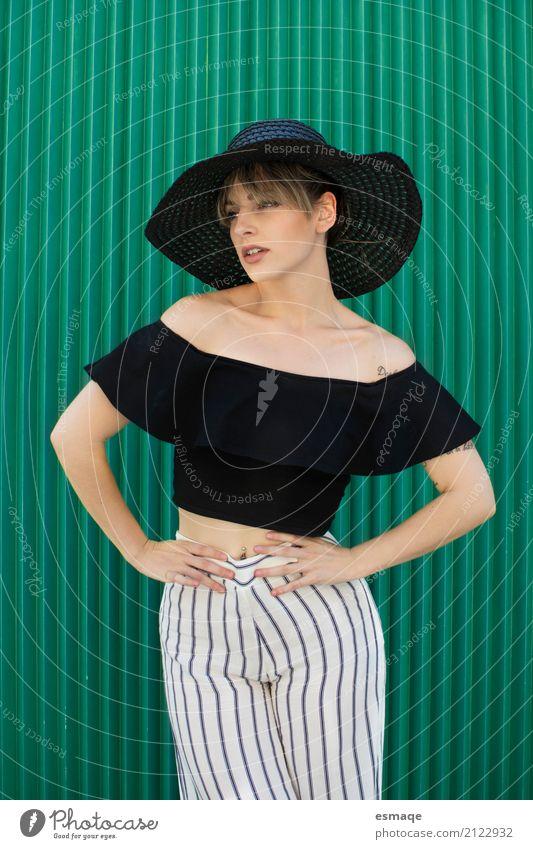 Woman fashion green Shopping Elegant Style Design Club Disco Adults Body Fashion Clothing T-shirt Shirt Pants Hat Cool (slang) Modern Green Black Colour Chic