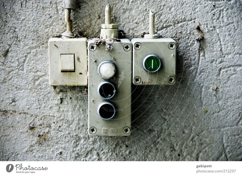 Push me Industrial plant Factory Building Facade Switch Bell Light switch Control device Old Work and employment Broken Trashy Responsibility Performance