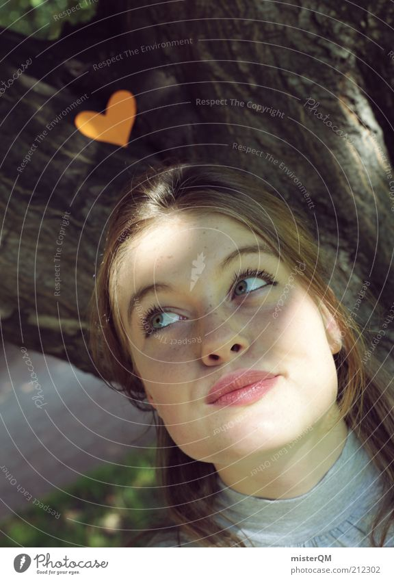 Woman Youth (Young adults) Beautiful Summer Face Love Emotions Dream Heart Adults Future Desire Natural Portrait photograph Meditative Human being