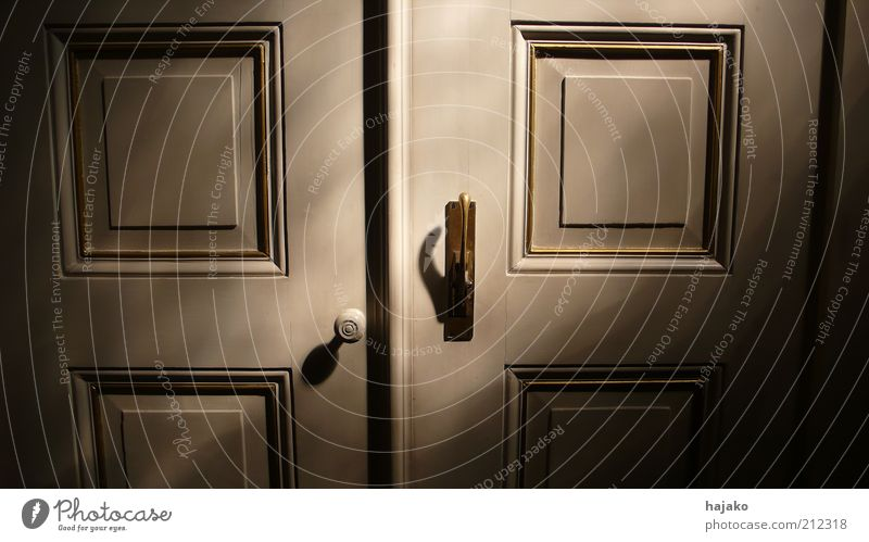 It's outside the door. Door Wood Metal Ornament Line Colour photo Interior shot Pattern Structures and shapes Light Shadow Contrast Sunbeam Detail Door handle