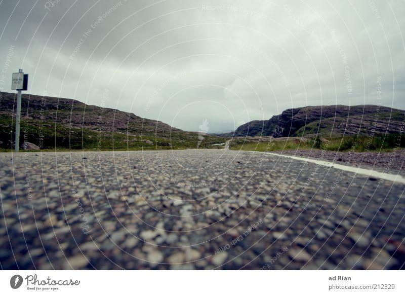 roadrunner Racecourse Landscape Clouds Horizon Fog Rain Grass Bushes Hill Rock Mountain Scotland Traffic infrastructure Street Infinity Colour photo