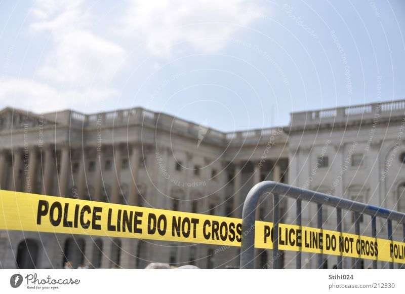 do not cross Police Force Security cordon Security force Clouds Washington DC Capital city Downtown Landmark United States Capitol Barrier Signs and labeling