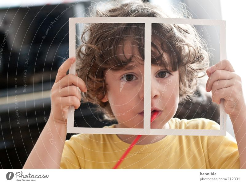 everything still in the frame Human being Child Boy (child) 1 3 - 8 years Infancy Brunette Curl Looking Funny Brown Yellow White Joy Happiness