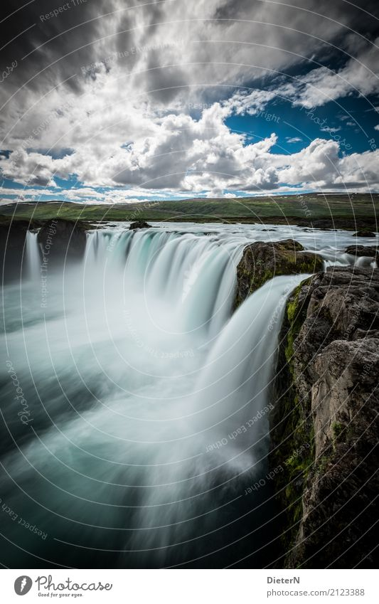 Godafoss Environment Nature Landscape Water Sky Clouds Summer Weather Beautiful weather Rock River bank Brook Waterfall Brown Turquoise White Iceland Moss