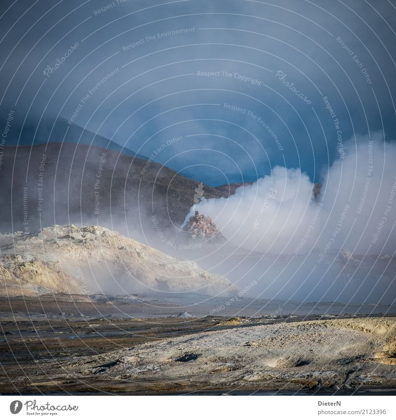 let off steam Environment Nature Landscape Elements Sand Fire Air Water Sky Clouds Weather Bad weather Hill Volcano Blue Yellow White Iceland Solfatarenfeld