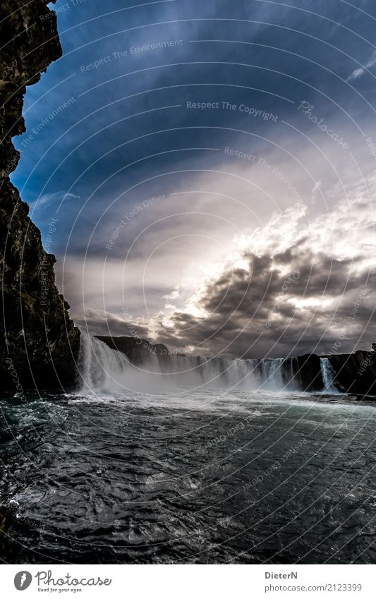Godafoss III Environment Nature Landscape Water Sky Clouds Weather Rock Canyon Waves River bank Waterfall Blue Brown White Iceland Sun Sunset Colour photo