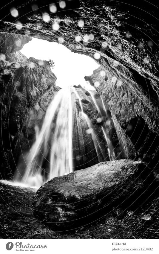 waterfall Sand Air Water Drops of water Rock Canyon Waterfall Gray Black White Iceland Reflection Black & white photo Exterior shot Deserted Copy Space middle