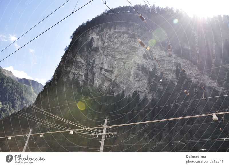 Nature Sky Tree Sun Summer Clouds Forest Mountain Landscape Large Rock Earth Electricity Cable Alps Peak