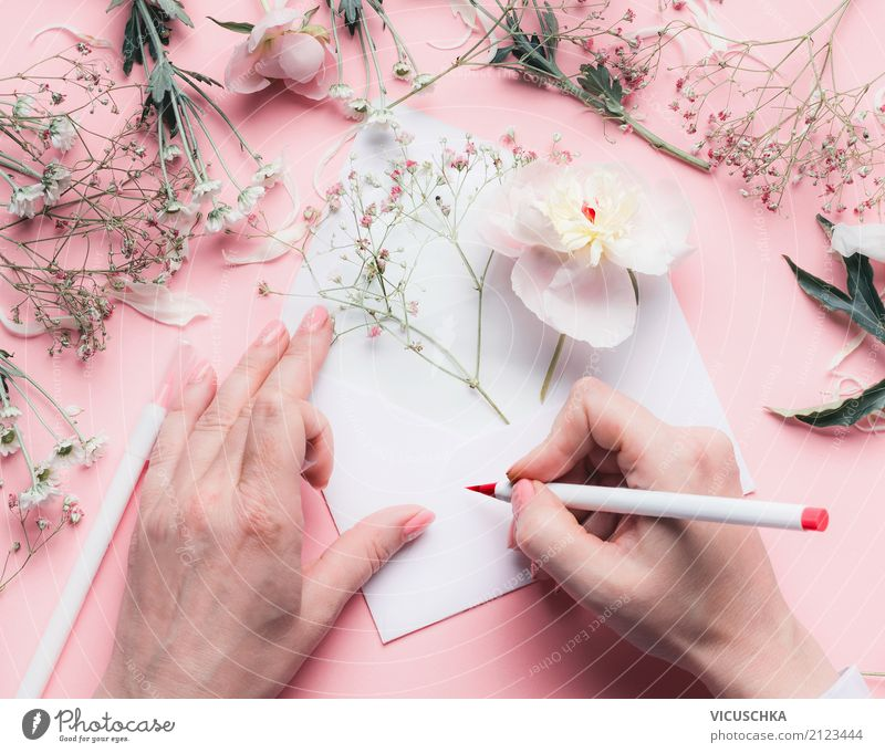 Female hands write greeting card with flowers Lifestyle Feasts & Celebrations Valentine's Day Mother's Day Wedding Birthday Feminine Woman Adults Hand Flower