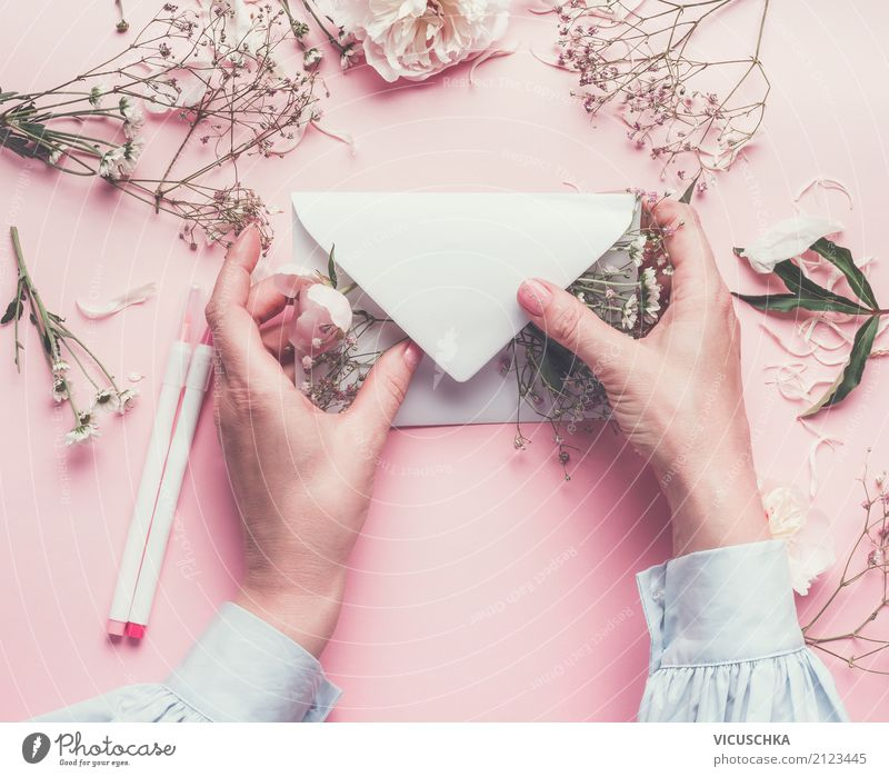Female hands with flowers and envelope Style Design Decoration Feasts & Celebrations Mother's Day Wedding Birthday Mail Human being Feminine Woman Adults Hand