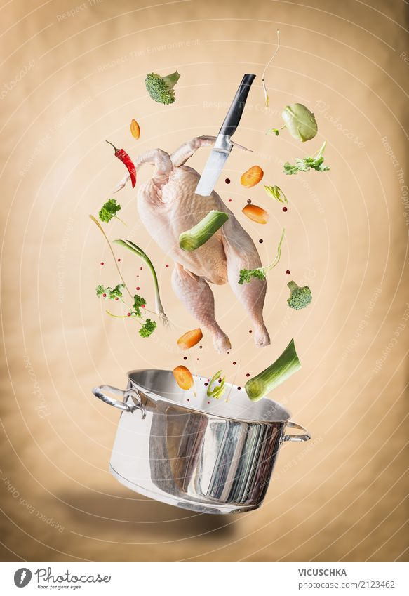 Cook chicken soup Food Meat Vegetable Herbs and spices Nutrition Banquet Crockery Pot Knives Style Design Healthy Eating Kitchen Chicken Soup Stock Cooking