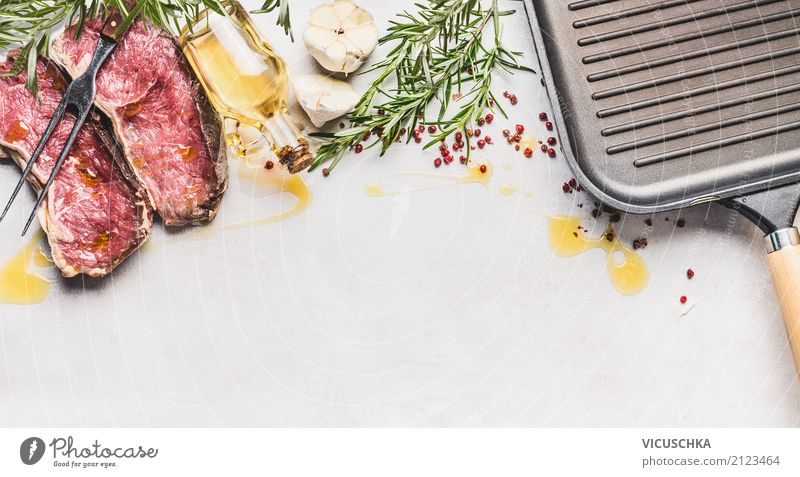 Raw steak with ingredients: Herbs, spices, oil and grill pan Food Meat Herbs and spices Cooking oil Nutrition Dinner Organic produce Crockery Pan Style Design