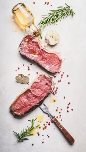 Beef steak with oil and ingredients Food Meat Herbs and spices Cooking oil Nutrition Business lunch Picnic Organic produce Crockery Style Design Healthy Eating