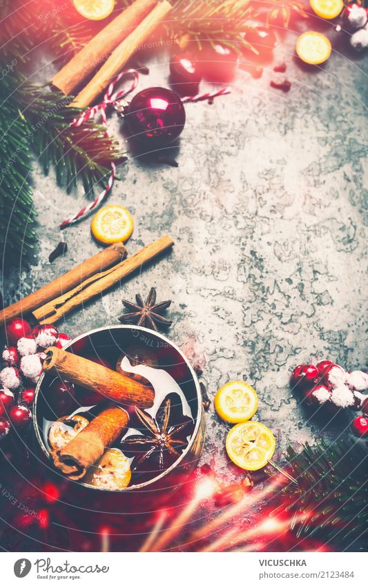 Christmas background with mulled wine and spices Beverage Lifestyle Style Design Winter Party Event Christmas & Advent Decoration Moody Tradition