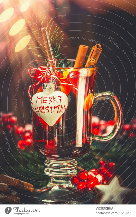 Glass of mulled wine with festive decoration Banquet Beverage Hot drink Mulled wine Lifestyle Style Design Winter Feasts & Celebrations Christmas & Advent