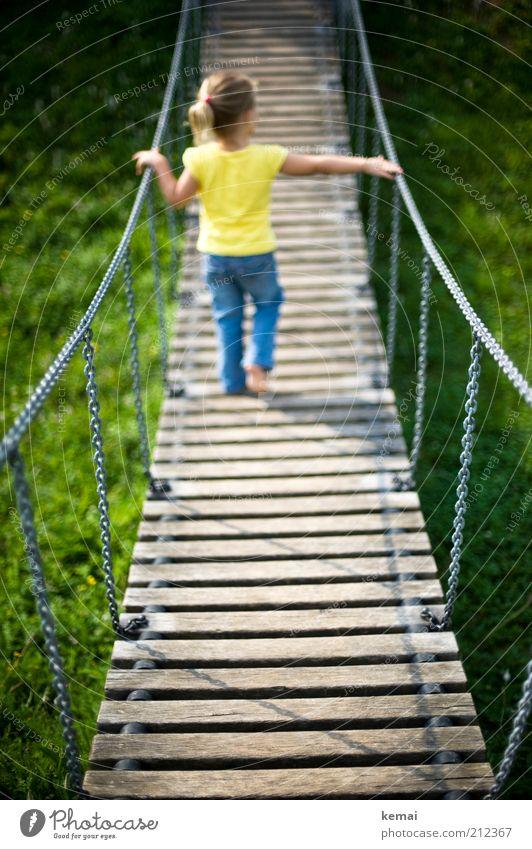 Crossing bridges Leisure and hobbies Playing Playground Human being Child Toddler Girl Infancy Back Legs 1 1 - 3 years Jeans Suspension bridge Wooden bridge