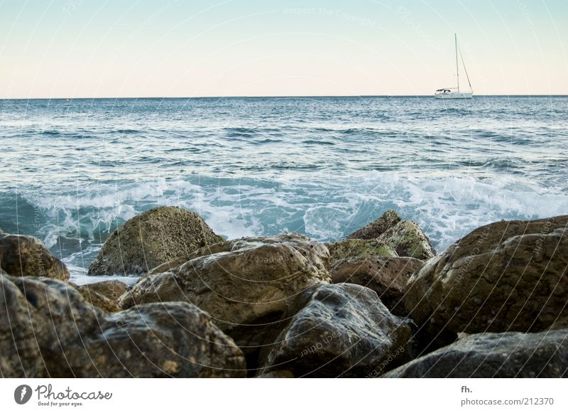 Blue Water Ocean Summer Calm Far-off places Relaxation Warmth Freedom Coast Stone Dream Horizon Brown Watercraft Waves
