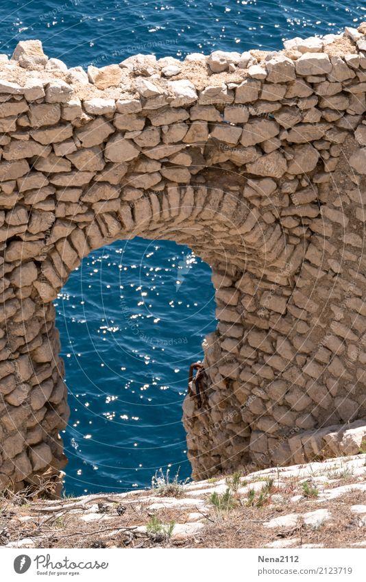 Fenêtre sur mer Water Beautiful weather Waves Bay Ocean Old Blue Wall (barrier) Stone wall Window Door Roman era Ruin Colour photo Exterior shot Detail Deserted