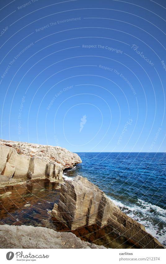 Dream job? Cloudless sky Summer Beautiful weather Rock Waves Coast Ocean Blue Mediterranean sea Quarry Marès White crest Sharp-edged Tracks Stone Natural stone