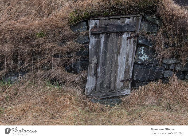 Old woman on Iceland Landscape Grass Meadow Brown Farm Romance Uninhabited Wood Door Tilt The Hobbit Colour photo Exterior shot