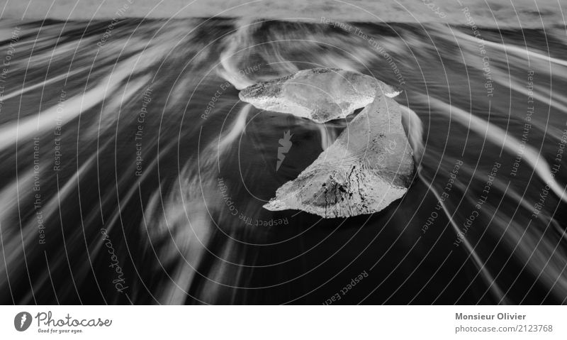 Ice abstract Frost Waves Coast Esthetic Abstract Movement Iceberg Iceland Glacier Ocean Black & white photo Deserted Contrast