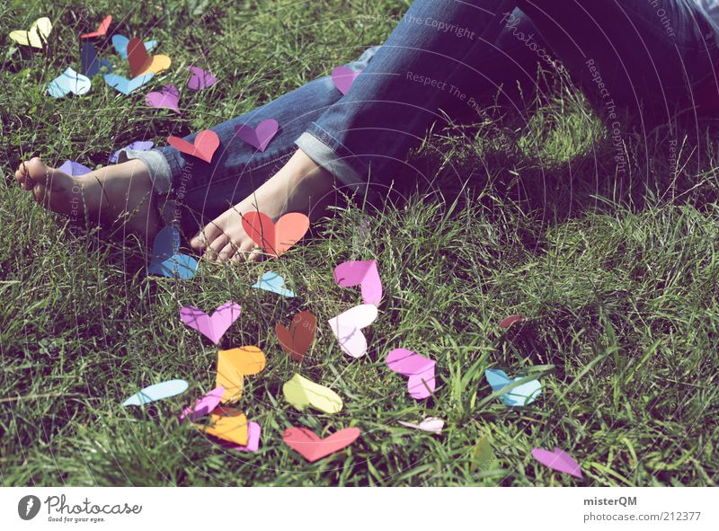 Love Meadow Emotions Grass Legs Feet Art Contentment Exceptional Leisure and hobbies Esthetic Creativity Idea Infatuation Denim Lovesickness