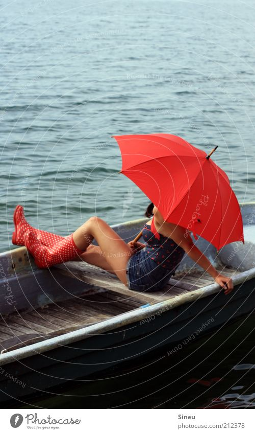 From the fisherman and his wife Woman Adults Wait Nature Water Sky Summer Beautiful weather Shorts Rubber boots Umbrella Red Sit Hope Belief Freedom