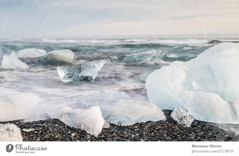 Diamond Beach, Jökulsárlón Glacier Lagoon, Iceland Environment Nature Landscape Climate Frost Waves Coast Bay Blue Travel photography adventure Exterior shot