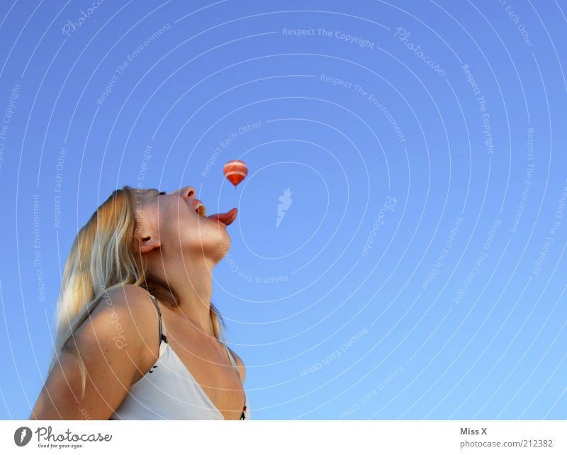 Youth (Young adults) Joy Feminine Playing Mouth Funny Blonde Adults Eating Large Human being Aviation Catch Face Appetite