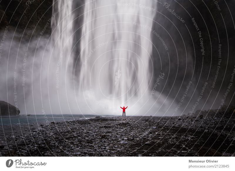 Human being Nature Vacation & Travel Landscape Travel photography Environment Power Adventure Energy Iceland Waterfall Experience Force of nature