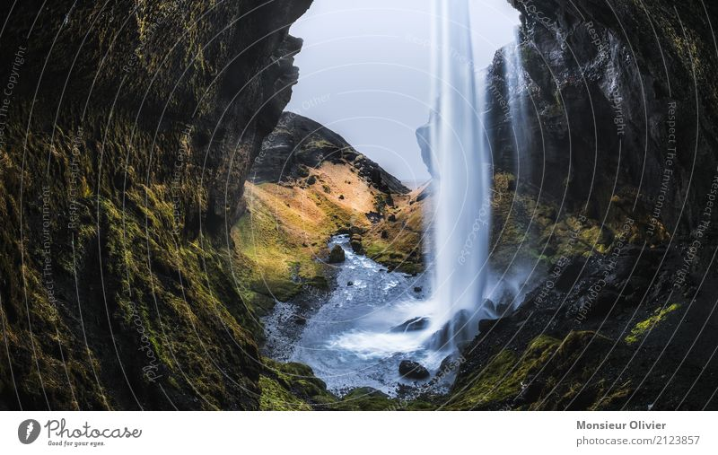 Nature Vacation & Travel Water Landscape Travel photography Environment Adventure River Iceland Moss Waterfall Cave Travel excitement Activity holiday