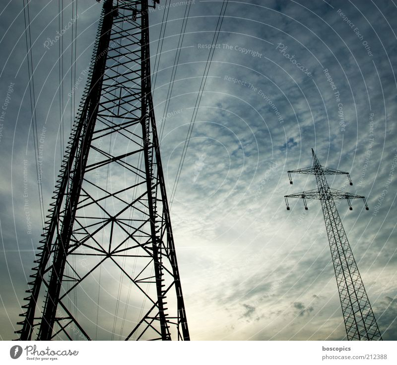 Sky Green Blue Black Clouds Large Tall Energy industry Electricity Cable Threat Steel Electricity pylon Transmission lines High voltage power line Lacking