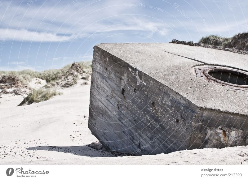 Beach Building Sand Coast Concrete Monument Ruin War Dune North Sea Remainder Blue sky Fortress Dugout Copy Space left