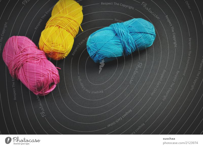 paint with wool ... Wool Ball of wool wool thread Material Handcrafts Craft (trade) Knit Crochet knot Embroider Pink Magenta Yellow Cyan 3 Multicoloured