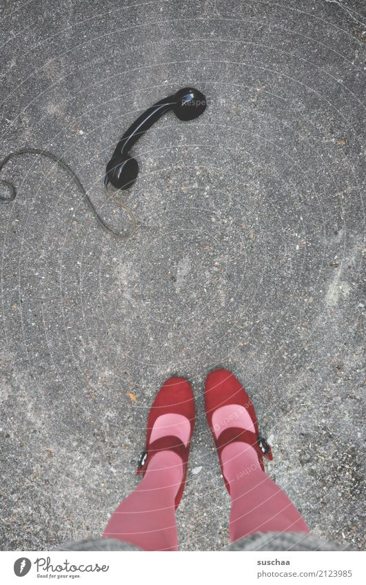 Old Street Legs Feet Stand Telephone Cable Stockings High heels Receiver