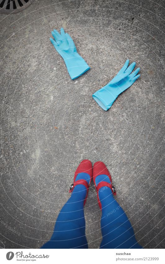 Clean Gloves Cleaning Cleaner Tidy up feminine Legs Feet Stand High heels Footwear Tights Blue Red Street Asphalt