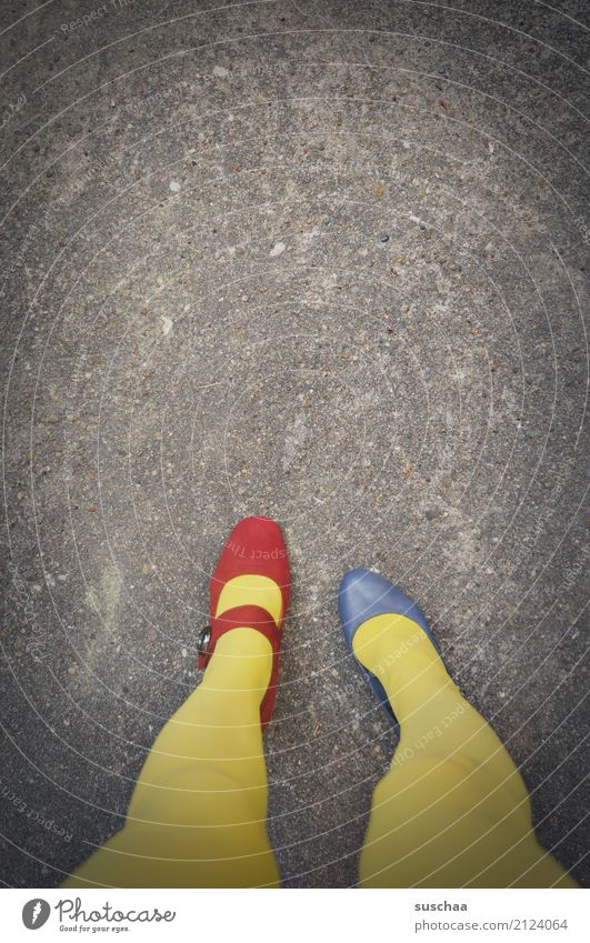 Blue Red Yellow Legs Exceptional Feet Footwear Stand Crazy Asphalt False Strange Inverted Inattentive Embarrassing