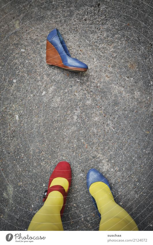 Blue Red Yellow Legs Exceptional Footwear Stand Crazy Asphalt False Strange Difference Inverted Inattentive Embarrassing