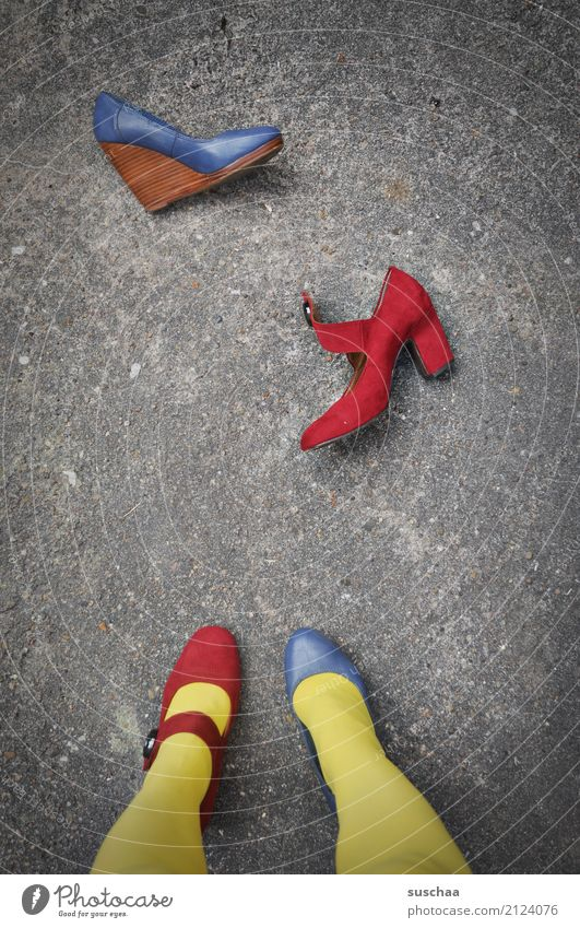 Blue Red Yellow Legs Exceptional Feet Footwear Stand Crazy Asphalt False Strange Difference High heels Inverted Indecisive