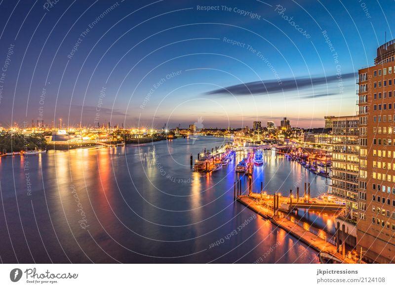Port of Hamburg / Landungsbrücken Far-off places Sightseeing City trip Cruise Summer Industrial Photography Water Sky Night sky Horizon Beautiful weather River