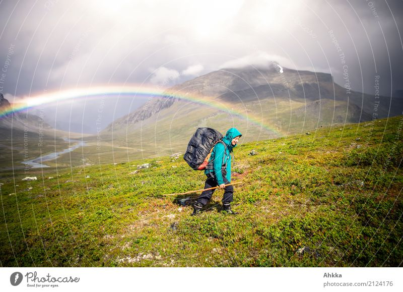 Rainbow, Young woman, Rain, Valley, Fjäll, Hiking, Adventure Human being Youth (Young adults) Nature Landscape Elements Storm Mountain Sweden Discover