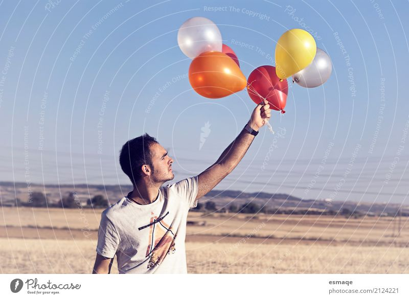Boy with balloons Lifestyle Joy Tourism Trip Adventure Freedom Expedition Summer Summer vacation Mountain Human being Masculine Young man Youth (Young adults)