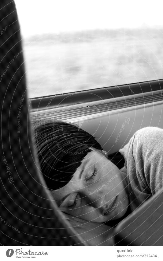 Human being Youth (Young adults) Beautiful Calm Feminine Hair and hairstyles Head Adults Sleep Break Travel photography Cozy Safety (feeling of) Black & white photo Young woman Woman