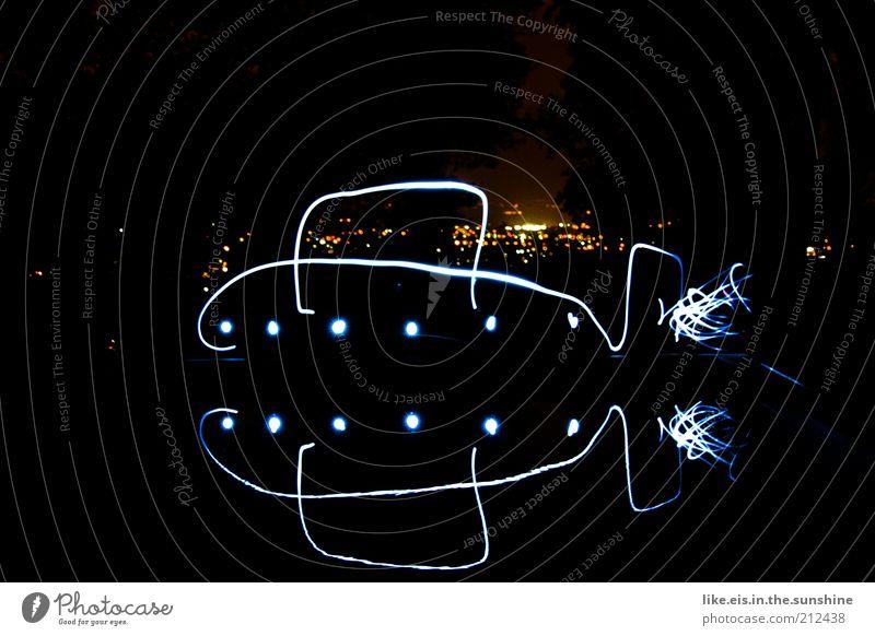 Water City Joy Black Dark Art Glittering Large Horizon Esthetic Swimming pool Night sky Uniqueness Exceptional Illuminate Draw