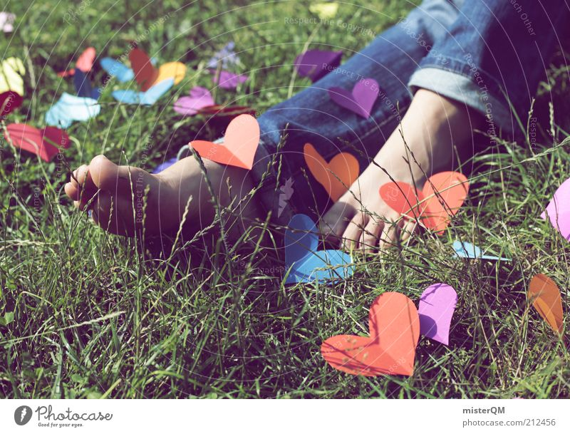 Woman Youth (Young adults) Beautiful Love Meadow Emotions Grass Happy Feet Art Heart Elegant Exceptional Esthetic Happiness Cute
