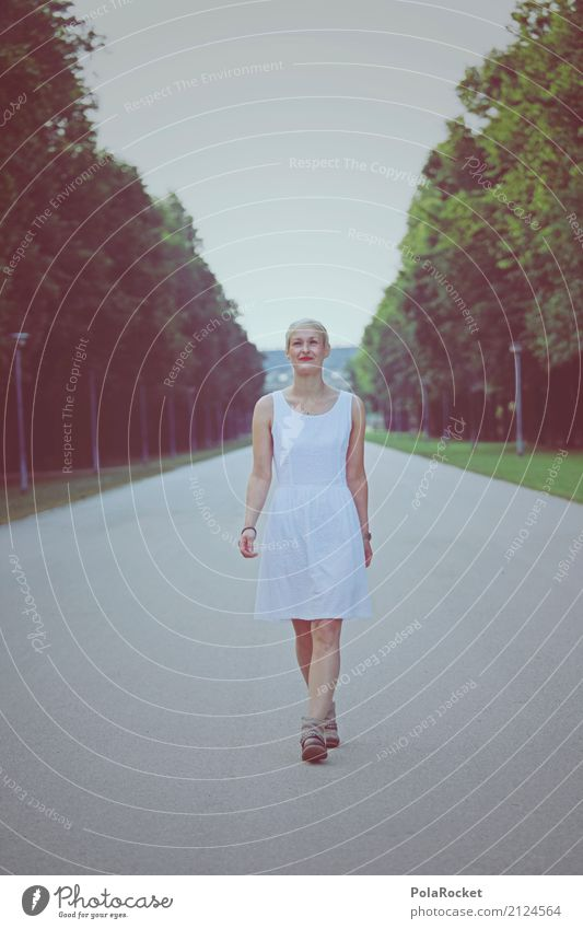 Human being Woman Summer White Feminine Fashion Leisure and hobbies Park Esthetic Walking To go for a walk Dress City trip Dresden Self-confident Promenade