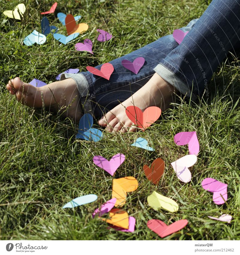 Woman Summer Love Emotions Grass Art Lie Contentment Heart Esthetic Many Symbols and metaphors Creativity Idea Denim Lovesickness