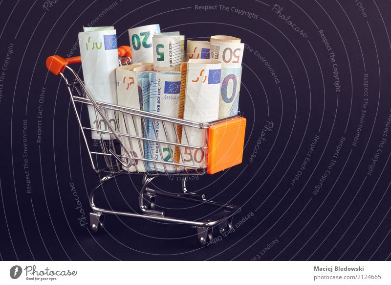 Shopping cart filled with Euro bill rolls. Business Success Future Illustration Money Financial institution Economy Society Bank note Save Basket